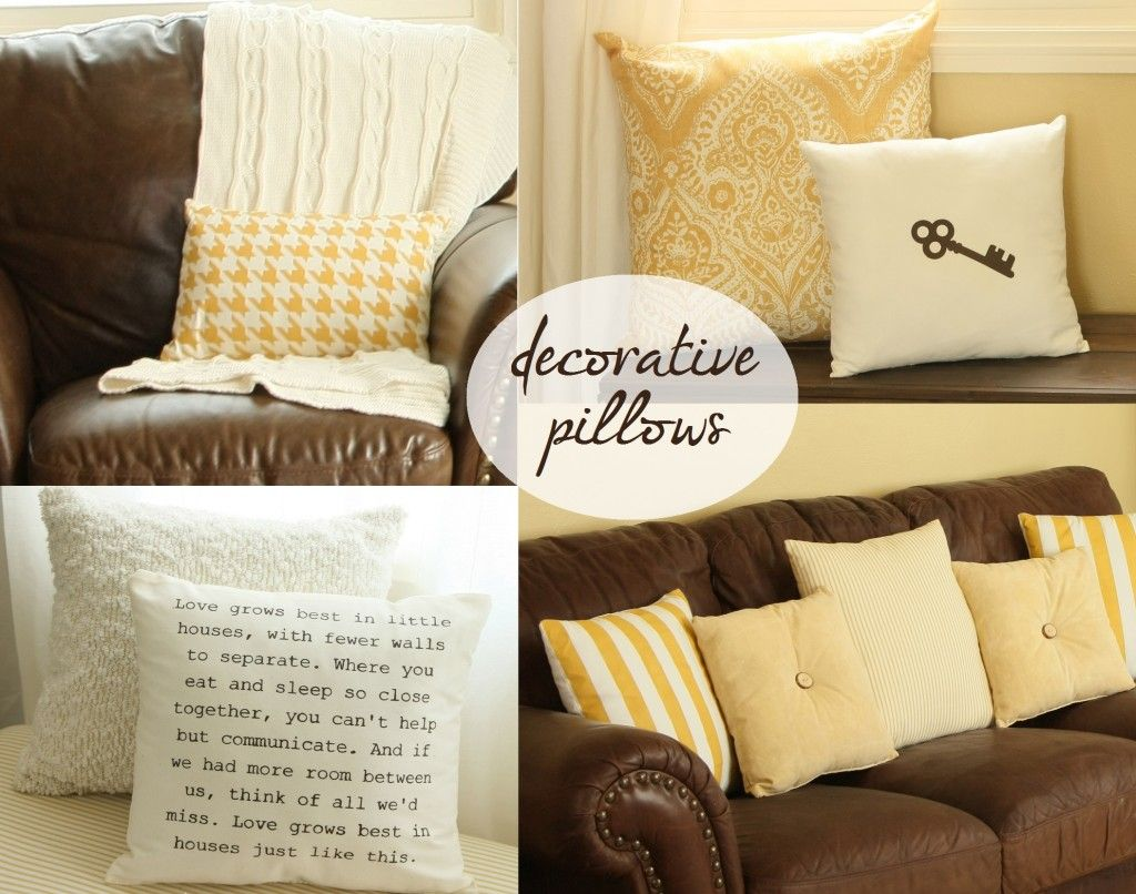 Decorative pillows some are painted brown and yellow is a cute