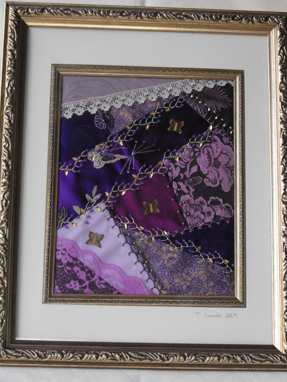 Crazy quilt, For the love of purple, crazy quilt art, gold ...