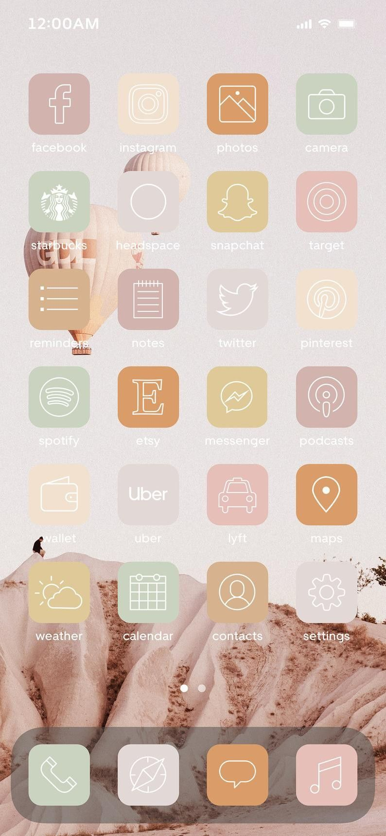 Neutral Iphone Ios14 App Icons 48 Different Icons In 8 Colors High Quality Png Vector Svg In 2020 App Icon Iphone Icon Iphone Organization
