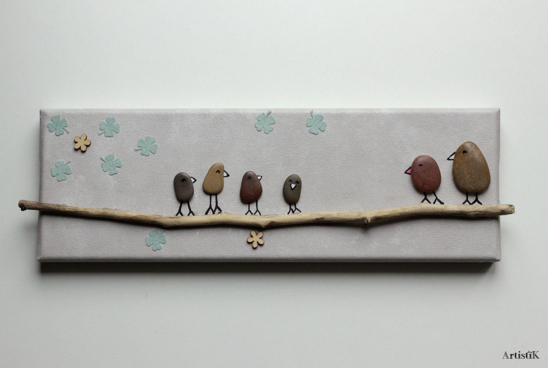 tableau galets oiseaux bois flott couleurs nature. Black Bedroom Furniture Sets. Home Design Ideas