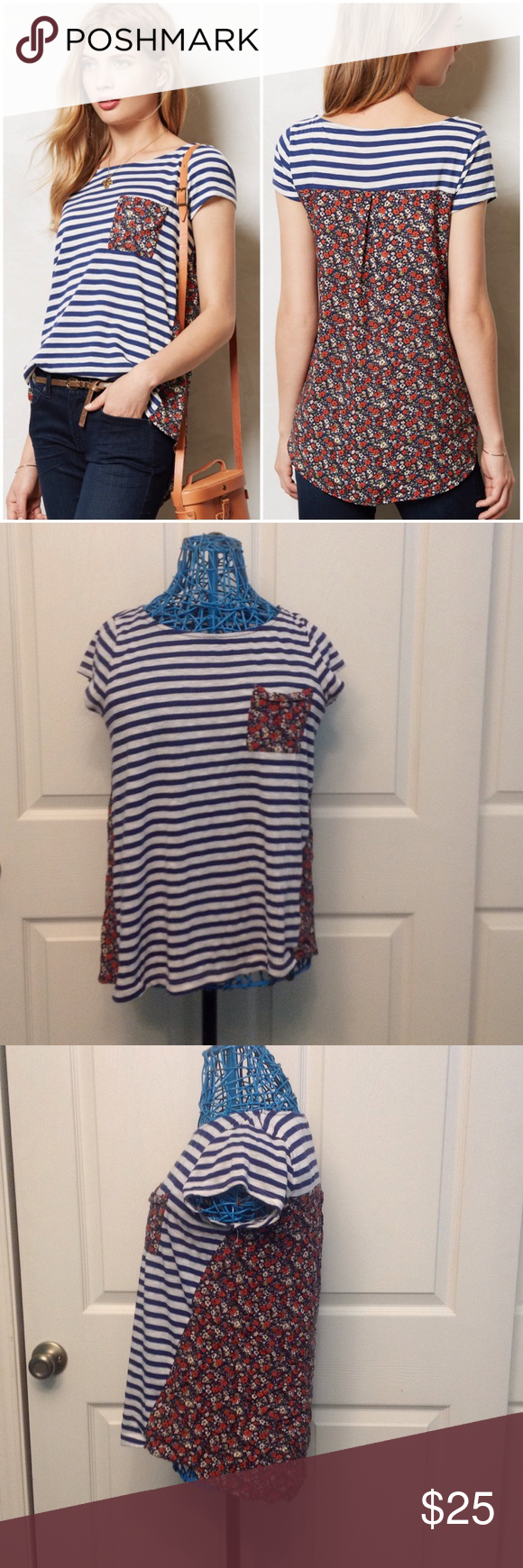 Backstory Tee Front pocket. Pullover styling. 50% cotton & 50% polyester. Contrast: rayon. Anthropologie Tops Tees - Short Sleeve