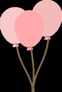pink balloons clip art - vector