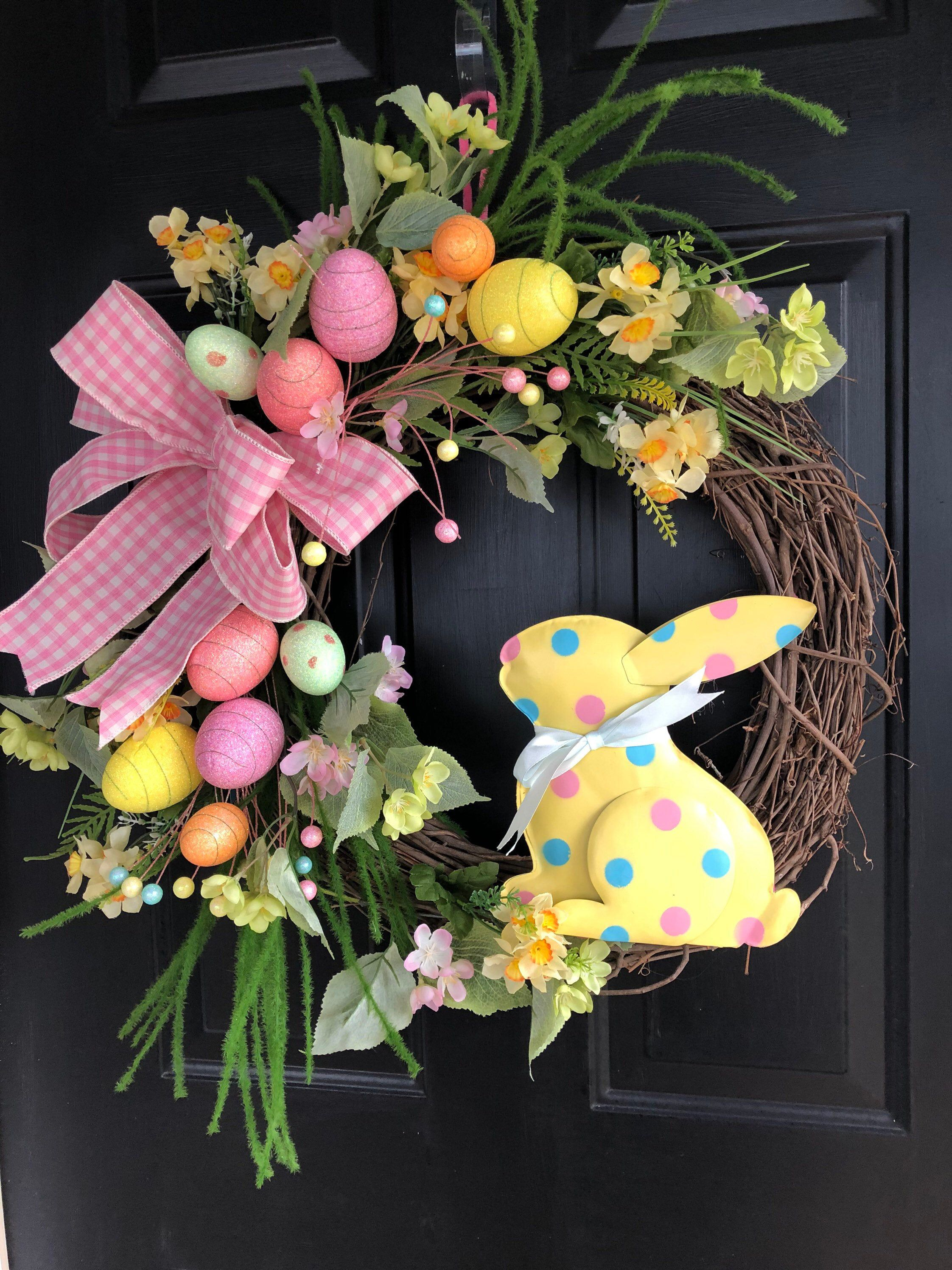 Photo of Easter Wreath for Front Door – Bunny Wreath for Spring – Wreath for Spring and Easter Decor