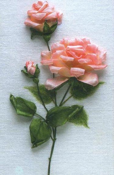 Фото вышивка лентами розы