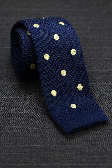 45a065a70837d Polka Dot Knit Tie in Navy and Yellow Tie And Pocket Square, Pocket Squares,