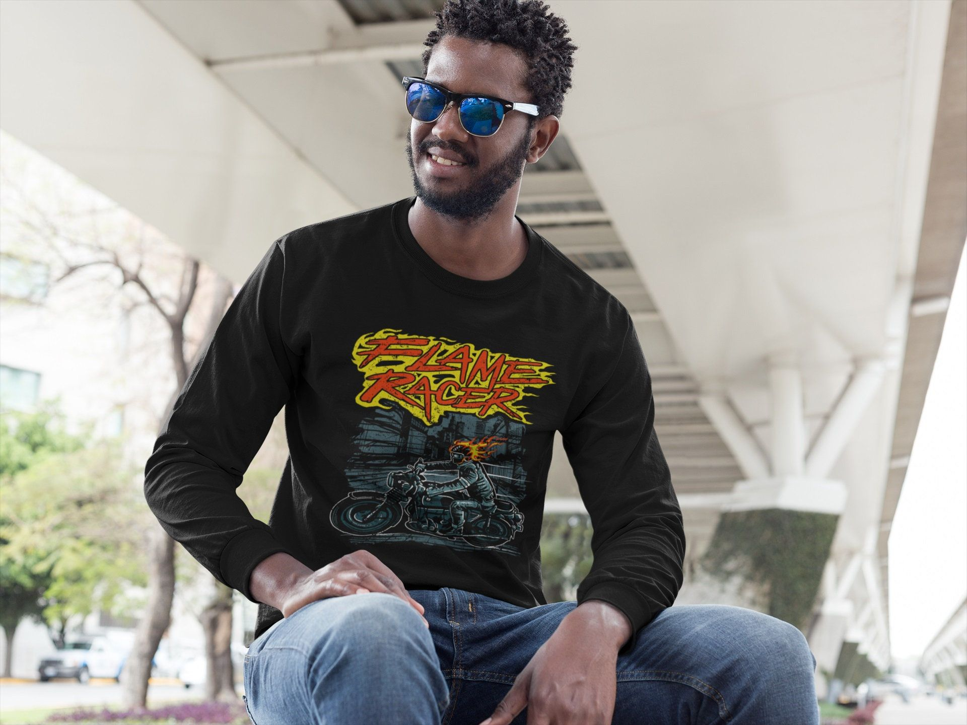 3514dd3e555a3 Motorcycle Night Flame Racer Old School Biker Men's Women's Bella+Canvas 3501  Unisex Jersey Long Sleeve Tee