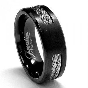 Black Anium Ring Wedding Band With Stainless Steel Cables Sizes 7 To 12 Mens Costume Jewelry Necklaces Cool Online