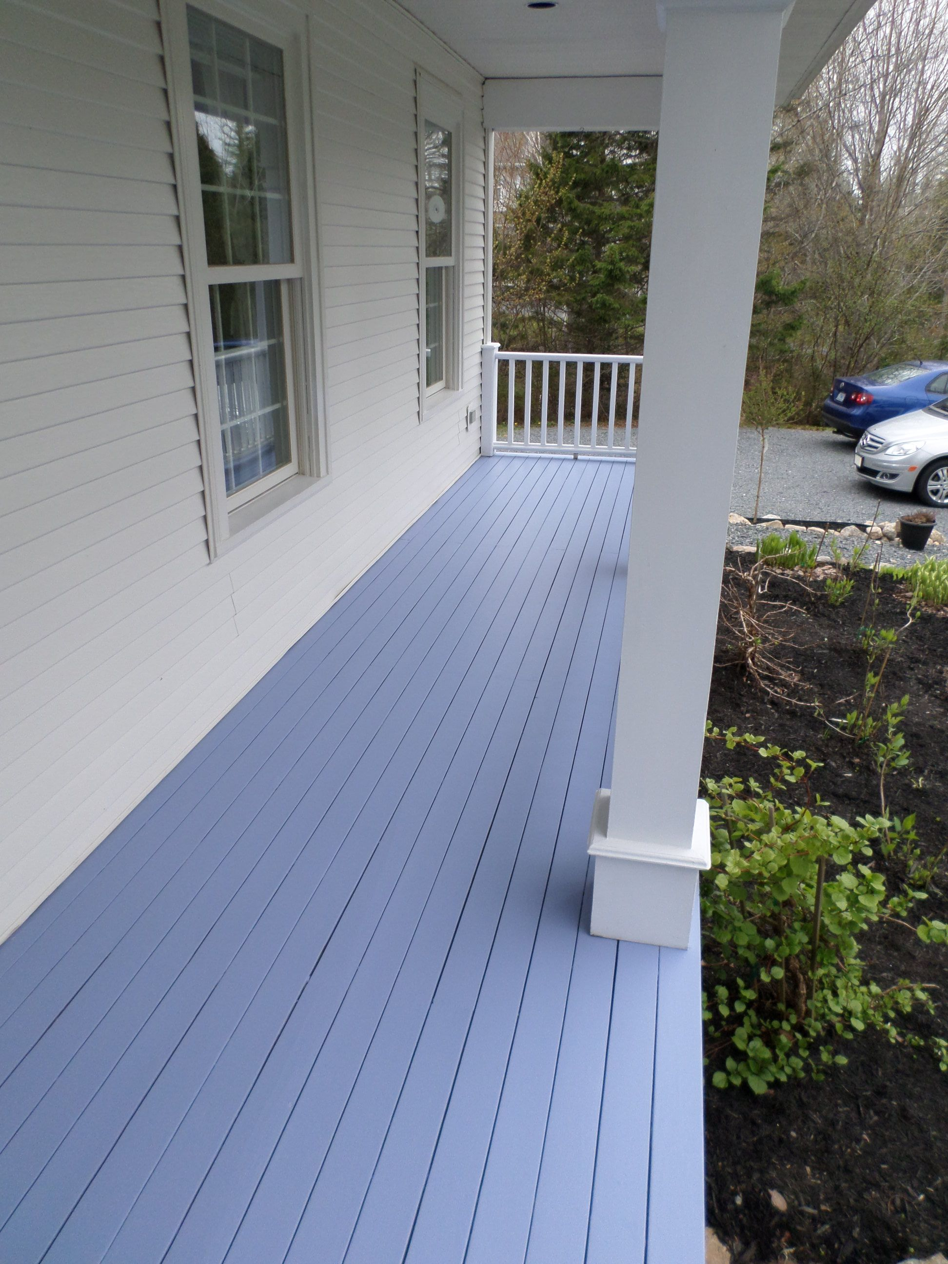 Front porch painted a warm blue with a hint of lilac Benjamin Moore
