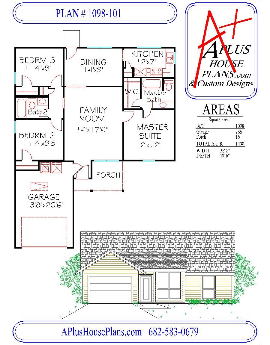 2 Story House Floor Plans And Elevations floor plan # 1098-101 one story house plan 1098 sqft 3 bedroom 2