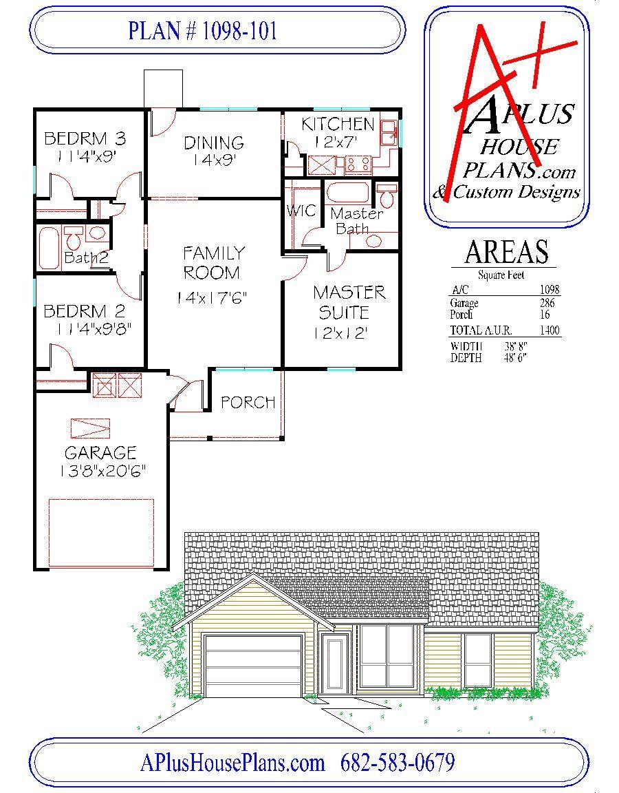 floor plan 1098 101 one story house plan 1098 sqft 3 bedroom 2 floor plan one story house plan 1098 sqft 3 bedroom 2 bath 1 car garage country elevation