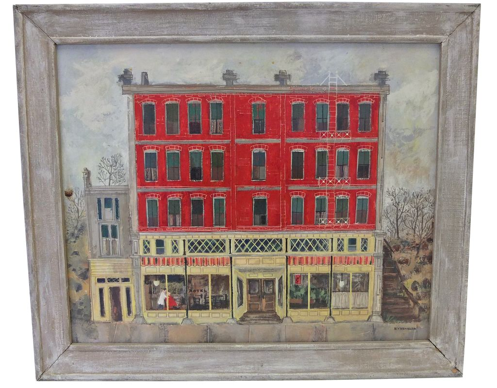 Barbara Kensler folky painting of a store from out Washington way.