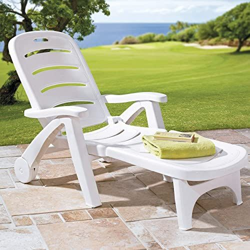 Amazing offer on BrylaneHome Resin Folding Lounger, White online - Toocutefashion
