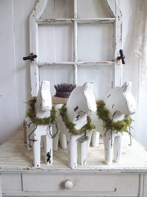 Scandi Shabby Chic Dala Horses All White Princess