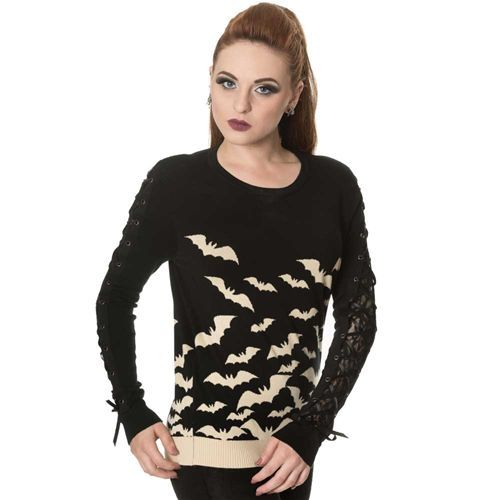 Haunted Diva gebreide dames trui met vleermuizen patroon en