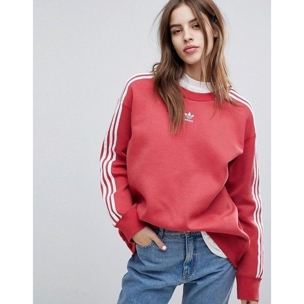 adidas Originals adicolor Three Stripe Sweatshirt In Red (€60) ❤ liked on  Polyvore featuring tops 5d03ad5d81af