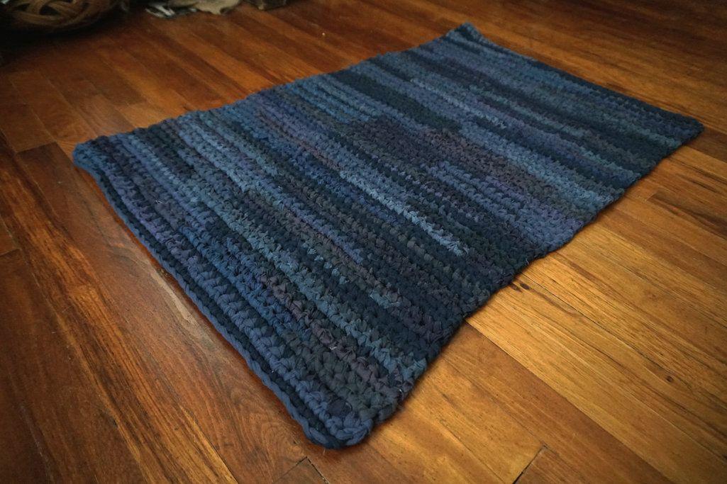 Dark Blue Navy Blue Rectangular 2 X 3 Handmade Etsy Rag Rug Rug Making Blue Sheets