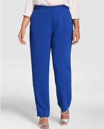 Pantalon De Mujer Talla Grande Talla Y Moda En Color Azul Pantalones De Mujer Moda Ropa