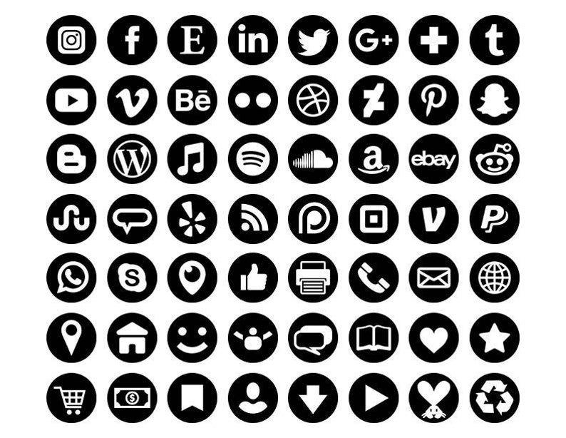 Black Social Media Icons Set Png Svg Vector Transparent Etsy Black Social Media Icons Social Media Icons Media Icon