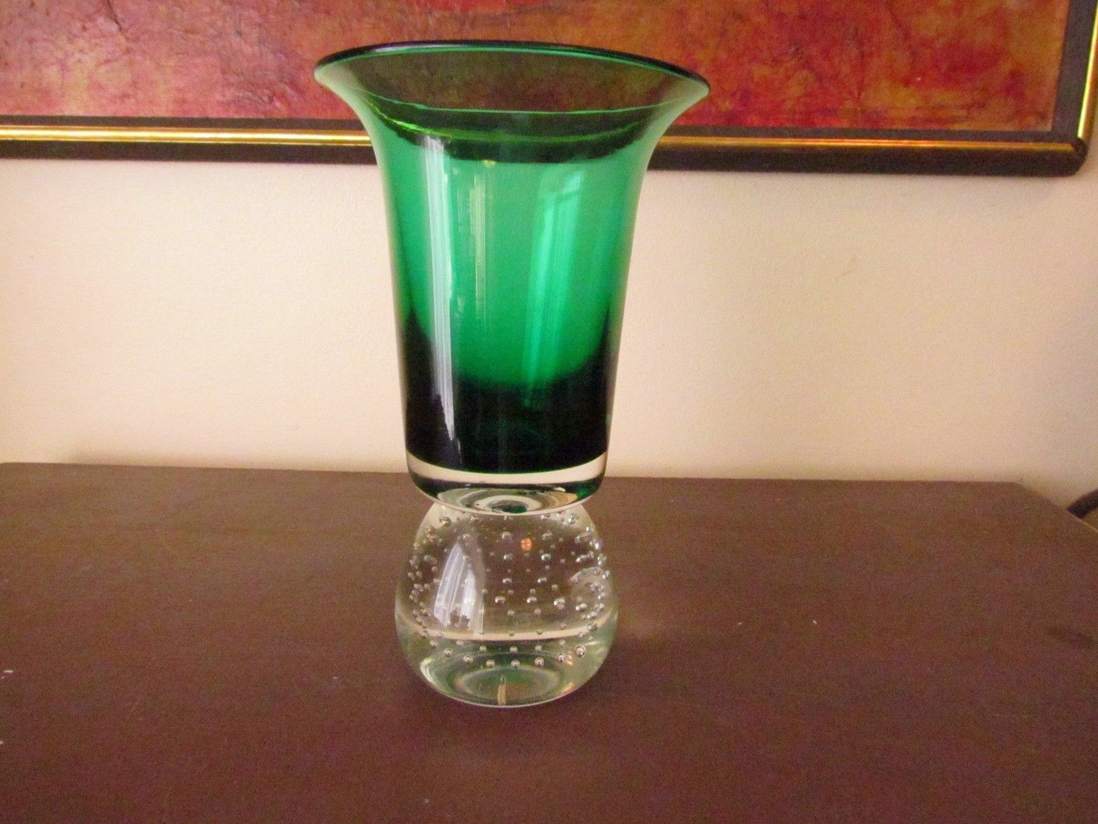 Sold: $31.   Erickson Glass Controlled Bubble Paperweight Base Green Vase | eBay