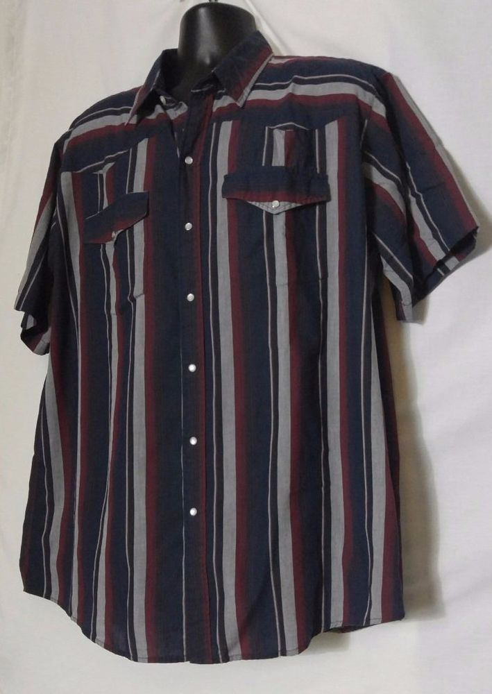 Canyon Guide Outfitters Short Sleeve Multi-color Pearl Snap Shirt Size 2XL #CanyonGuide #Western