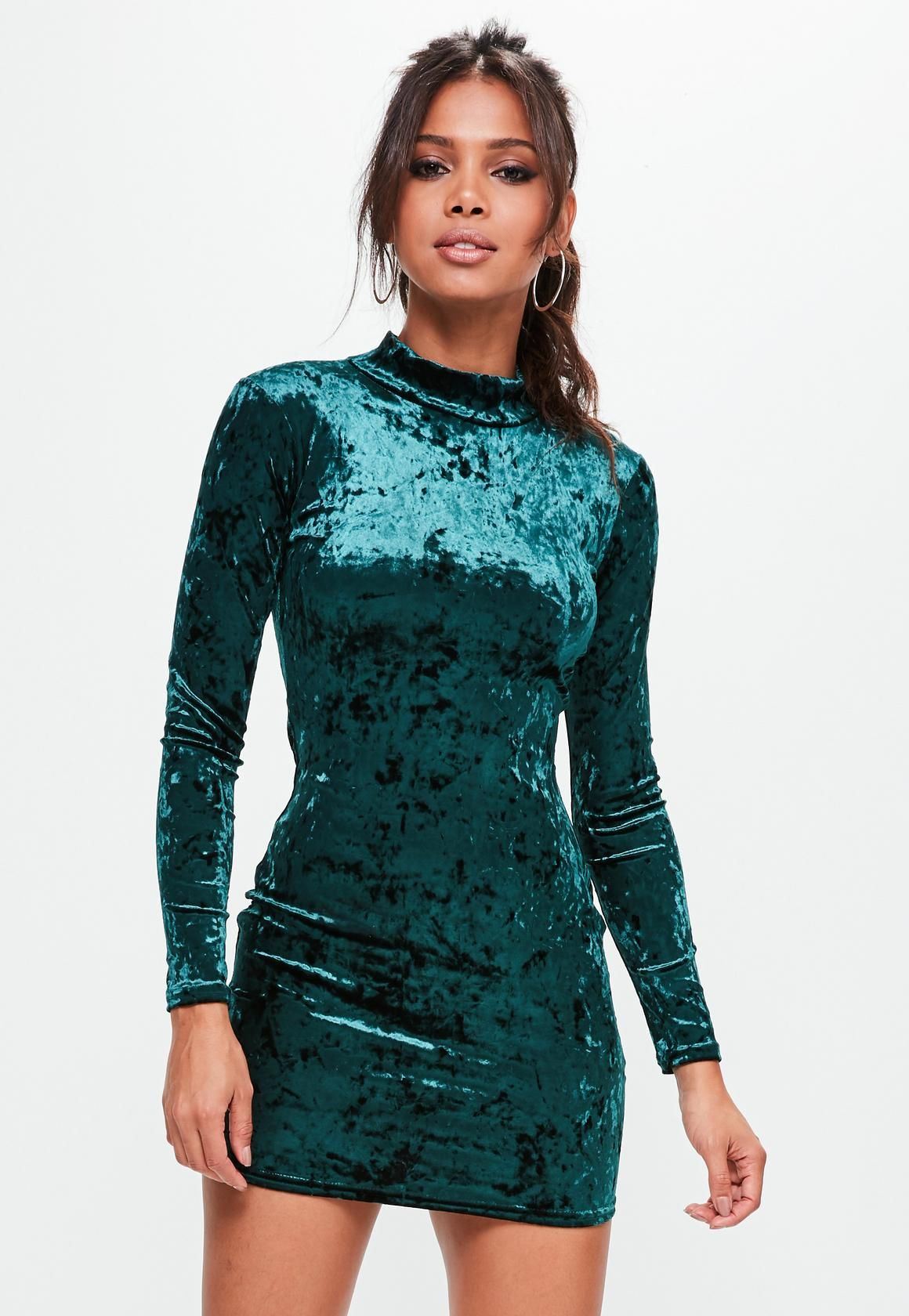 f0f90b4f8b7e Missguided - Green High Neck Velvet Bodycon Dress