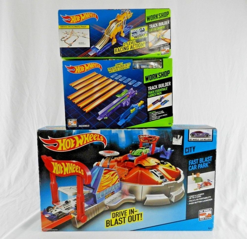 3 New Hot Wheels Workshop Track Builders Car Park Lift Launch Pack Over 5ft Hotwheels Hot Wheels Diecast Toy Toy Vehicles