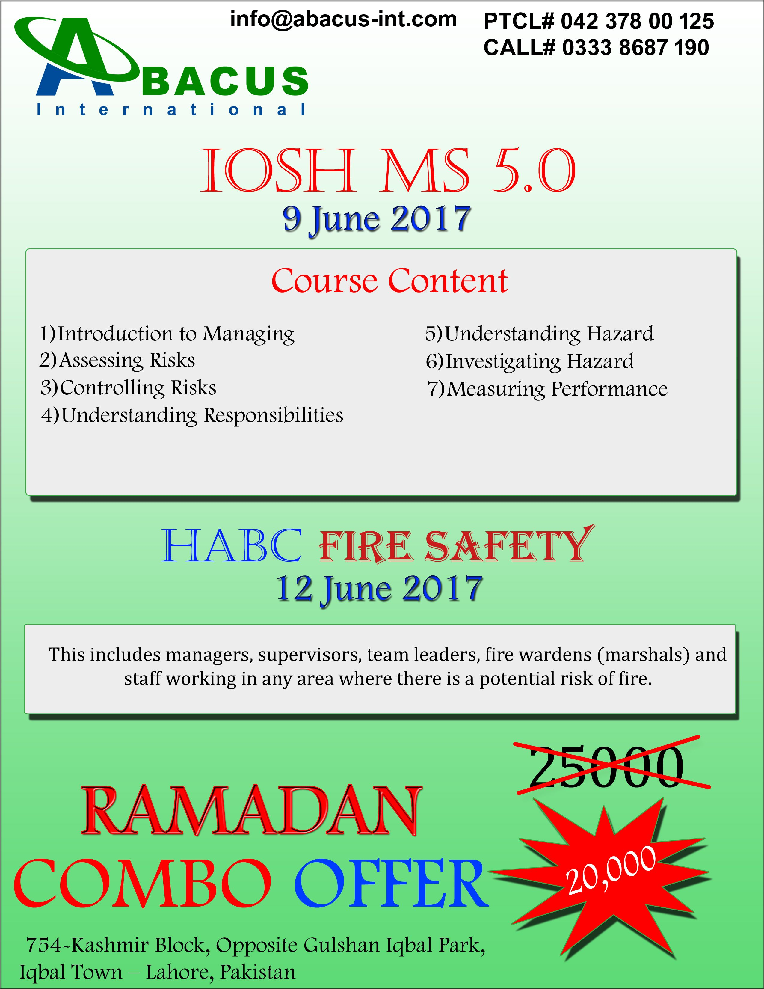 03345277400 IOSH Course in Lahore Pakistan 2019