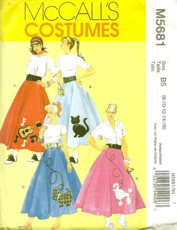 Plus Size Retro Poodle Skirt Petticoat And Appliques Costume Pattern By McCalls Costumes Womens