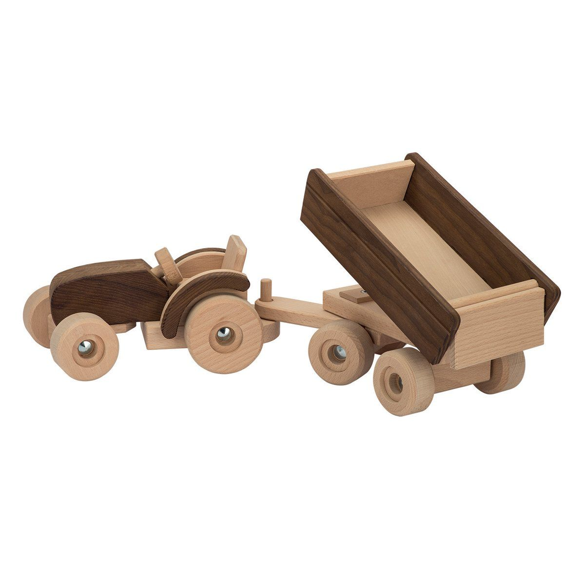 tractor with trailer | • baby - newborn • | wooden toys