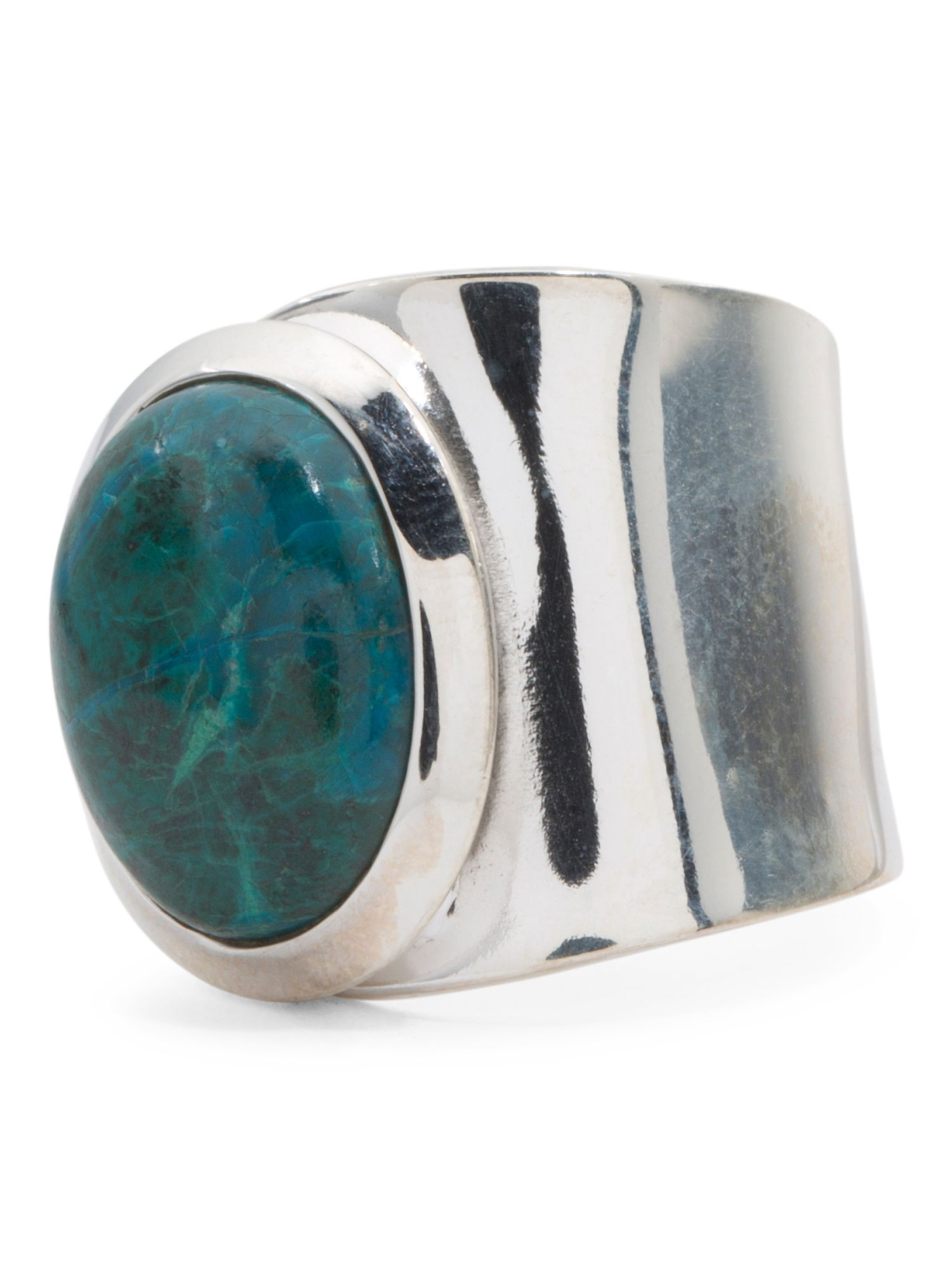 Made In India Sterling Silver Gemstone Spoon Ring