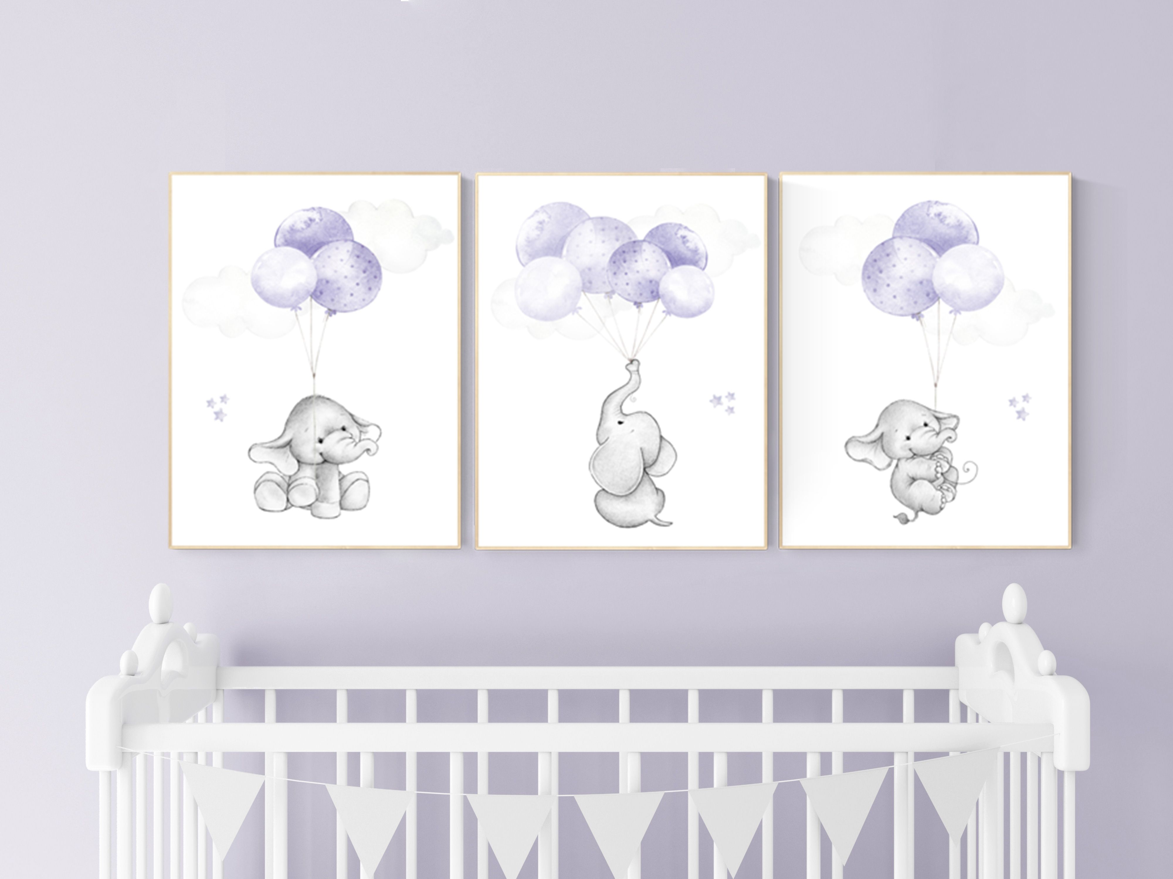 Elephant Nursery Decor Purple