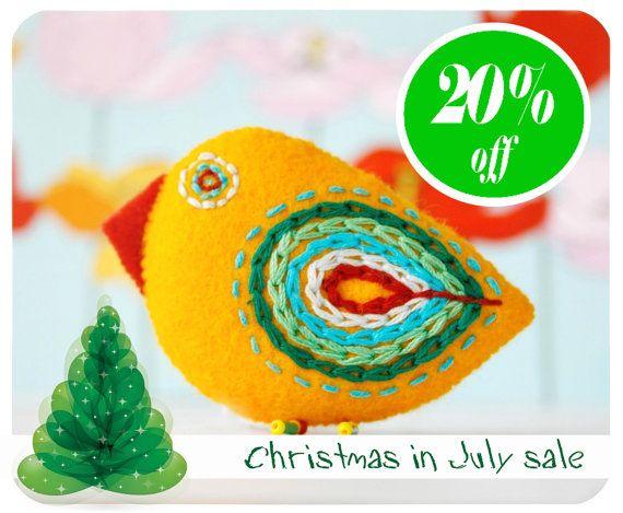 felt pin, bird pin, felt brooch, embroidered pin - yellow chiken brooch  Christmas in July celebration