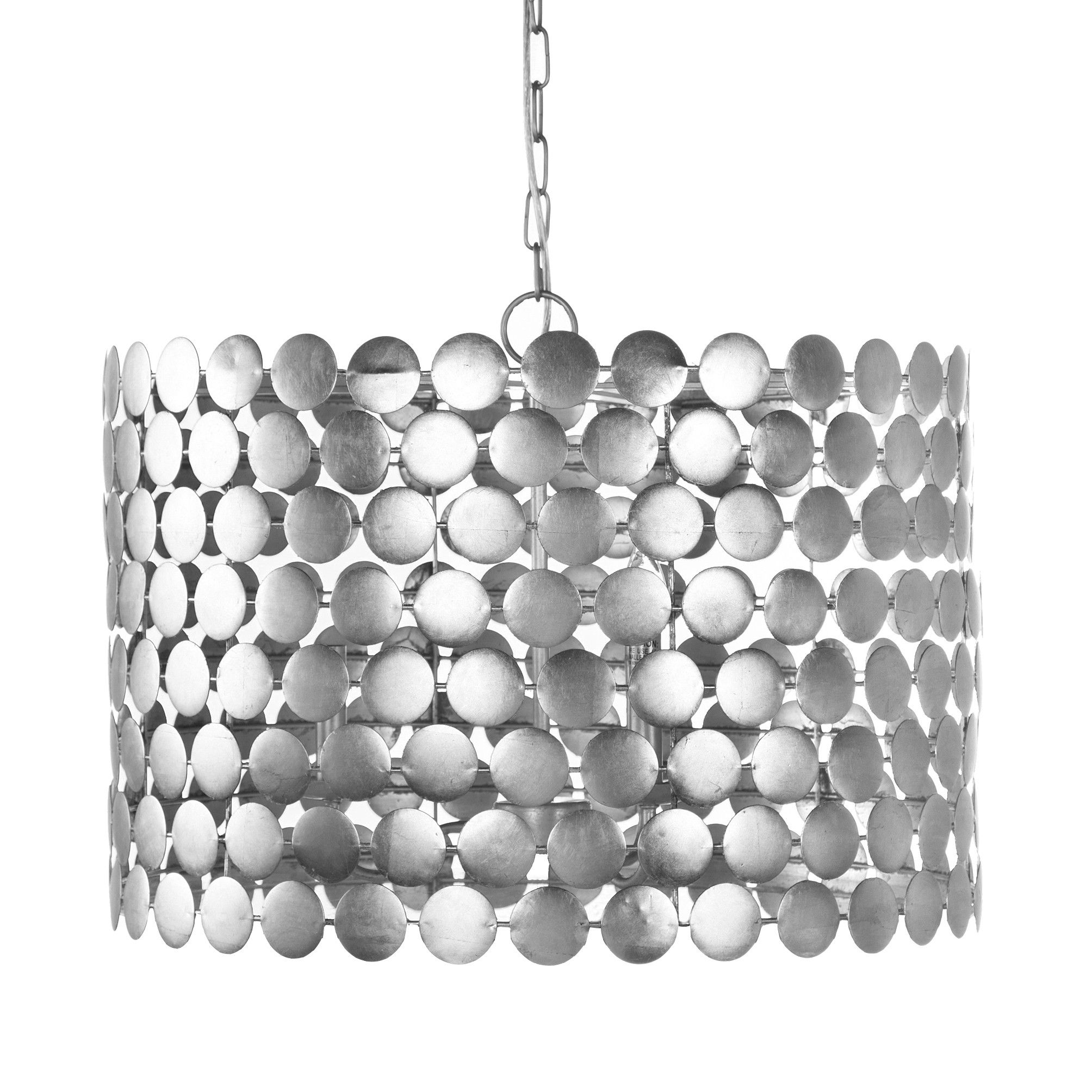 The Worlds Away Presents Parker Chandelier Featuring A Three Light Cer Design Of Silver Leaf Finished Connected Circles