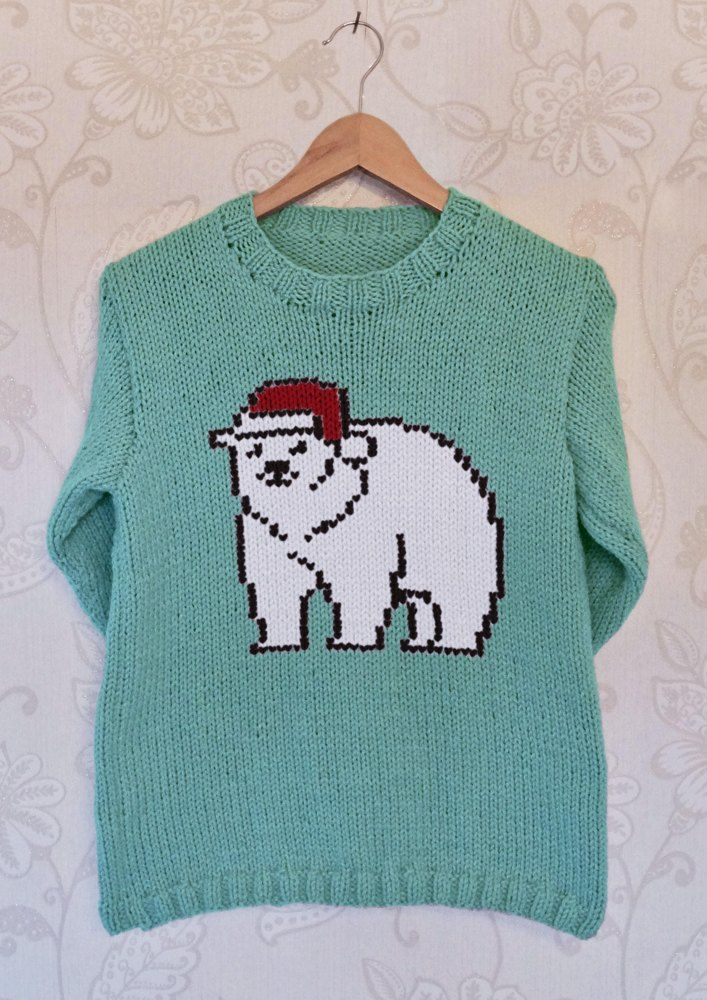 Intarsia Polar Bear Chart Adults Sweater Christmas Knitting