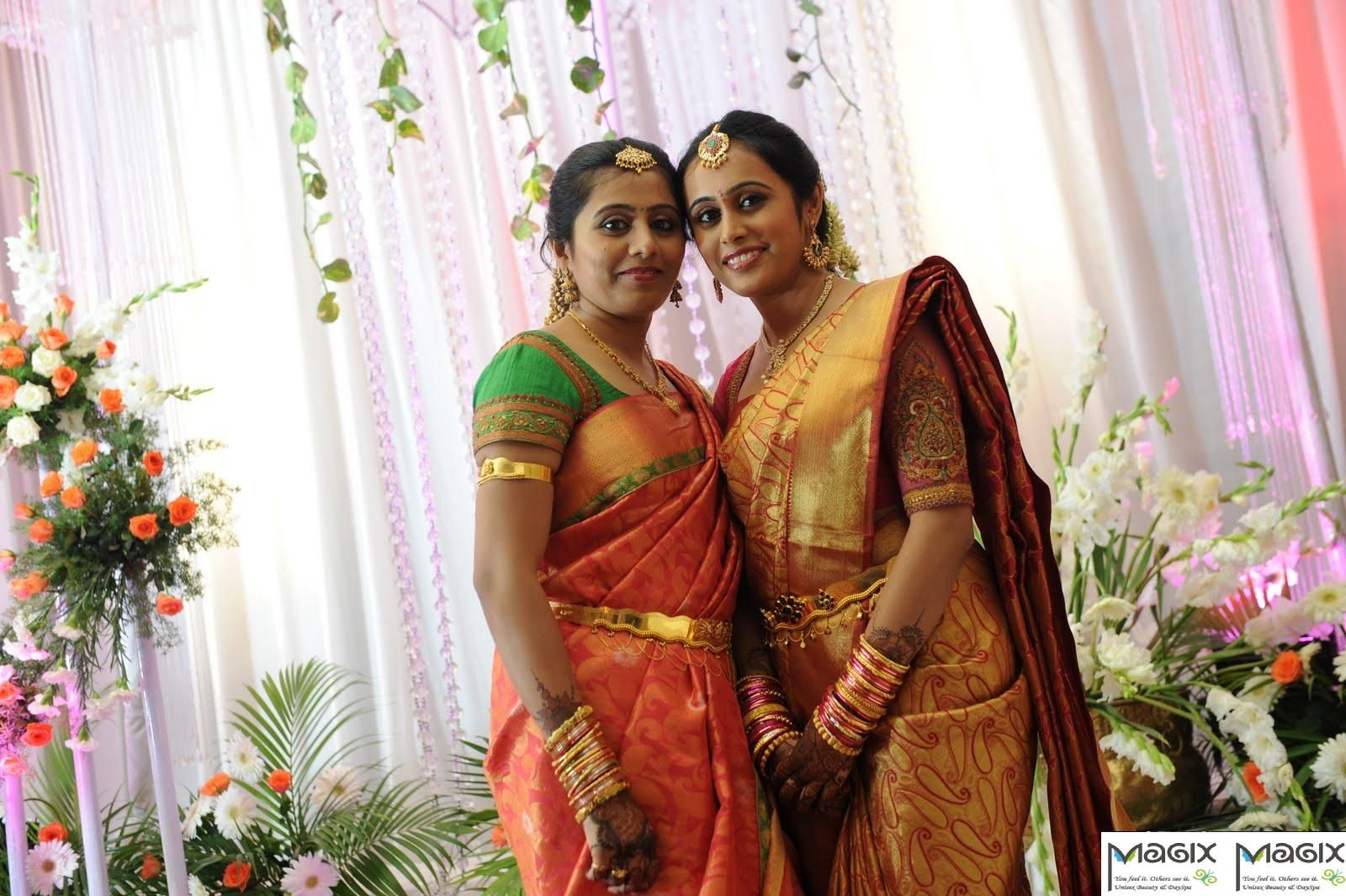 south indian bride and her sister with makeover by