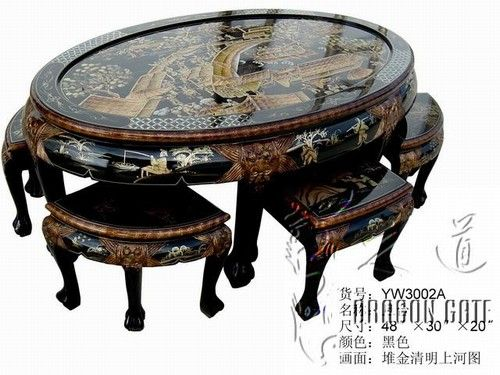 unique oval coffee table w 6 stools village scenes price culture themes. Black Bedroom Furniture Sets. Home Design Ideas