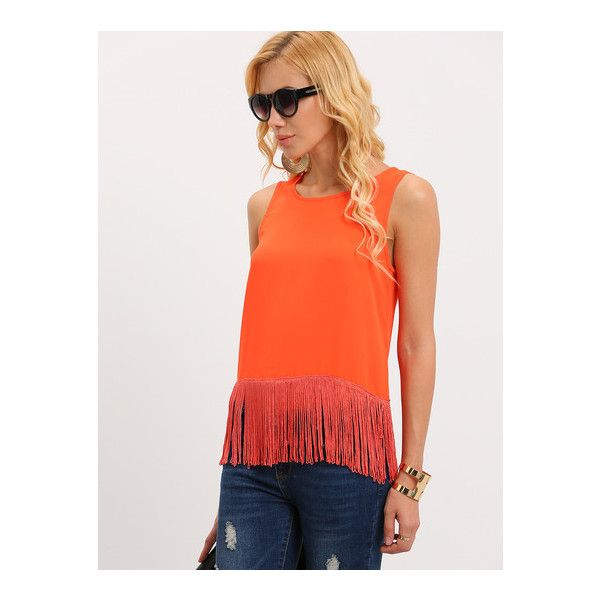 9905e6648d SheIn(sheinside) Orange Red Sleeveless Tassel T-shirt ( 8.99) ❤ liked on  Polyvore featuring tops
