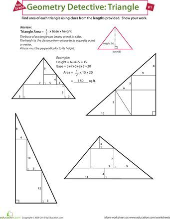 Worksheets Find The Area Of A Triangle Teaching Geometry Triangle Worksheet Math Geometry