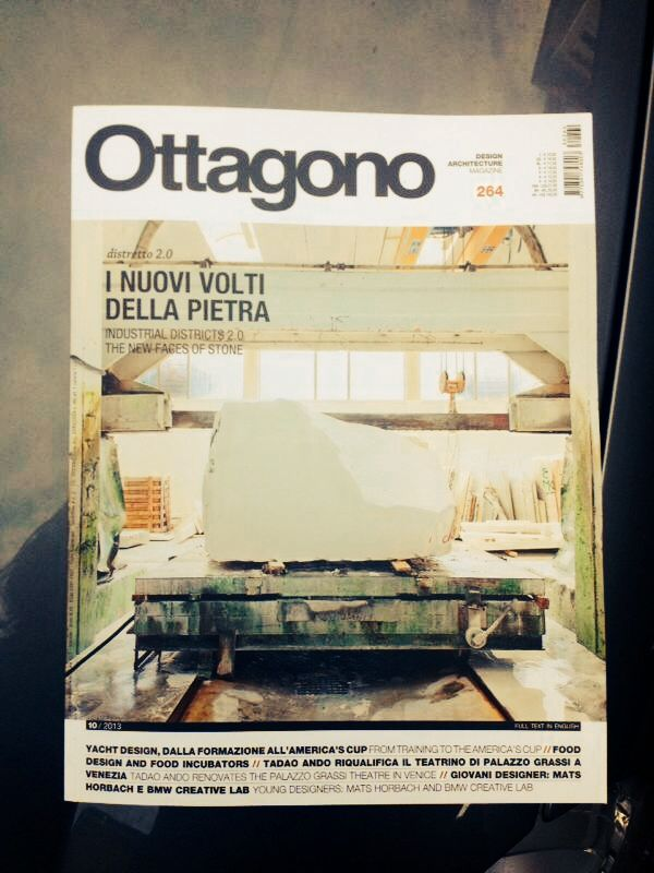 """""""The new faces of Stone"""" > Vaselli Spirito Pietra on the cover of Ottagono, and nice article with reference to Architettura Sonora. Congratulation to the Vaselli crew!"""