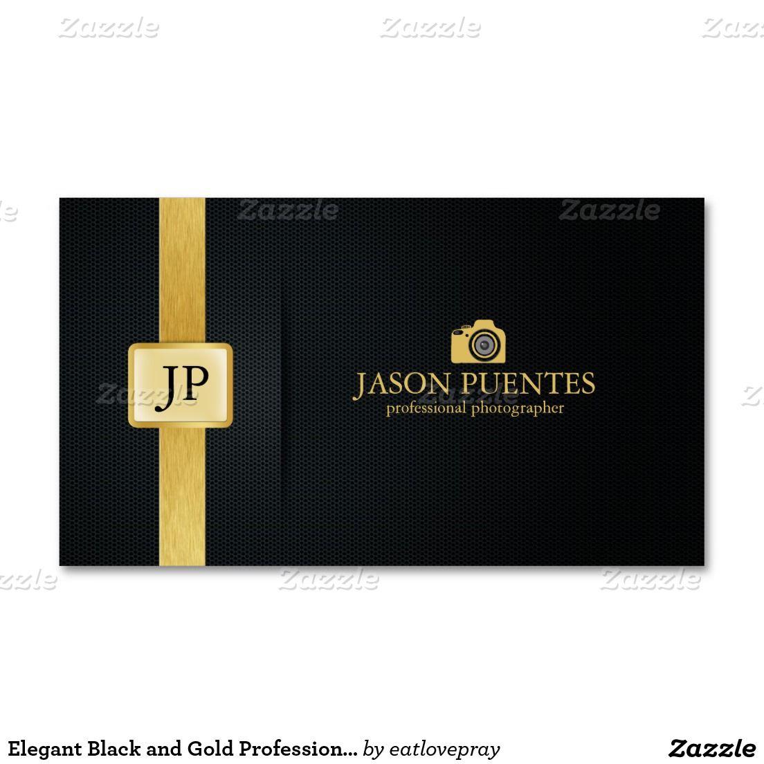 Eleganter Schwarz Und Goldberuflicher Fotograf Visitenkarte