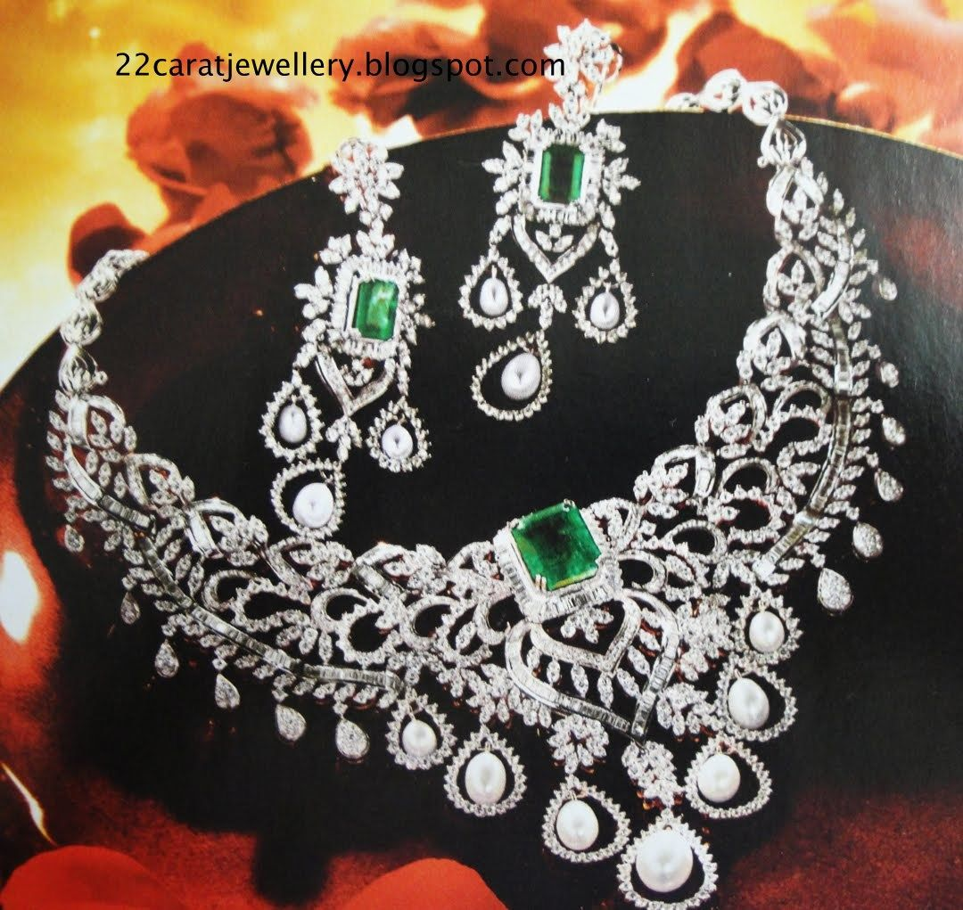 Tanishq diamond bridal necklace set with emralds paired with diamond