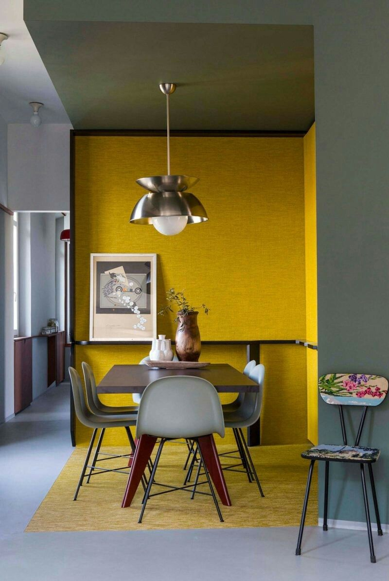 Colour blocked yellow dining nook agence architecture interior architecture colorful interiors dining room