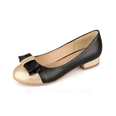 Pumps - $26.99 - Leatherette Low Heel Flats Closed Toe With Bowknot shoes (085042994) http://jjshouse.com/Leatherette-Low-Heel-Flats-Closed-Toe-With-Bowknot-Shoes-085042994-g42994?pos=related_products_2