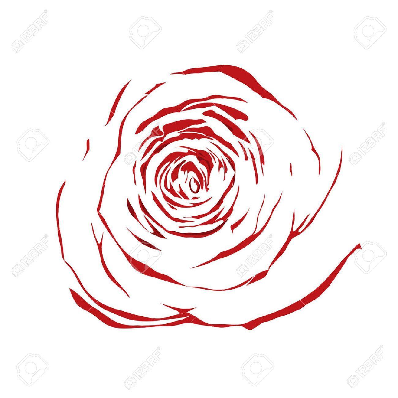 Belle Rose Rouge Croquis Abstrait Avec L Effet D Un Dessin A L