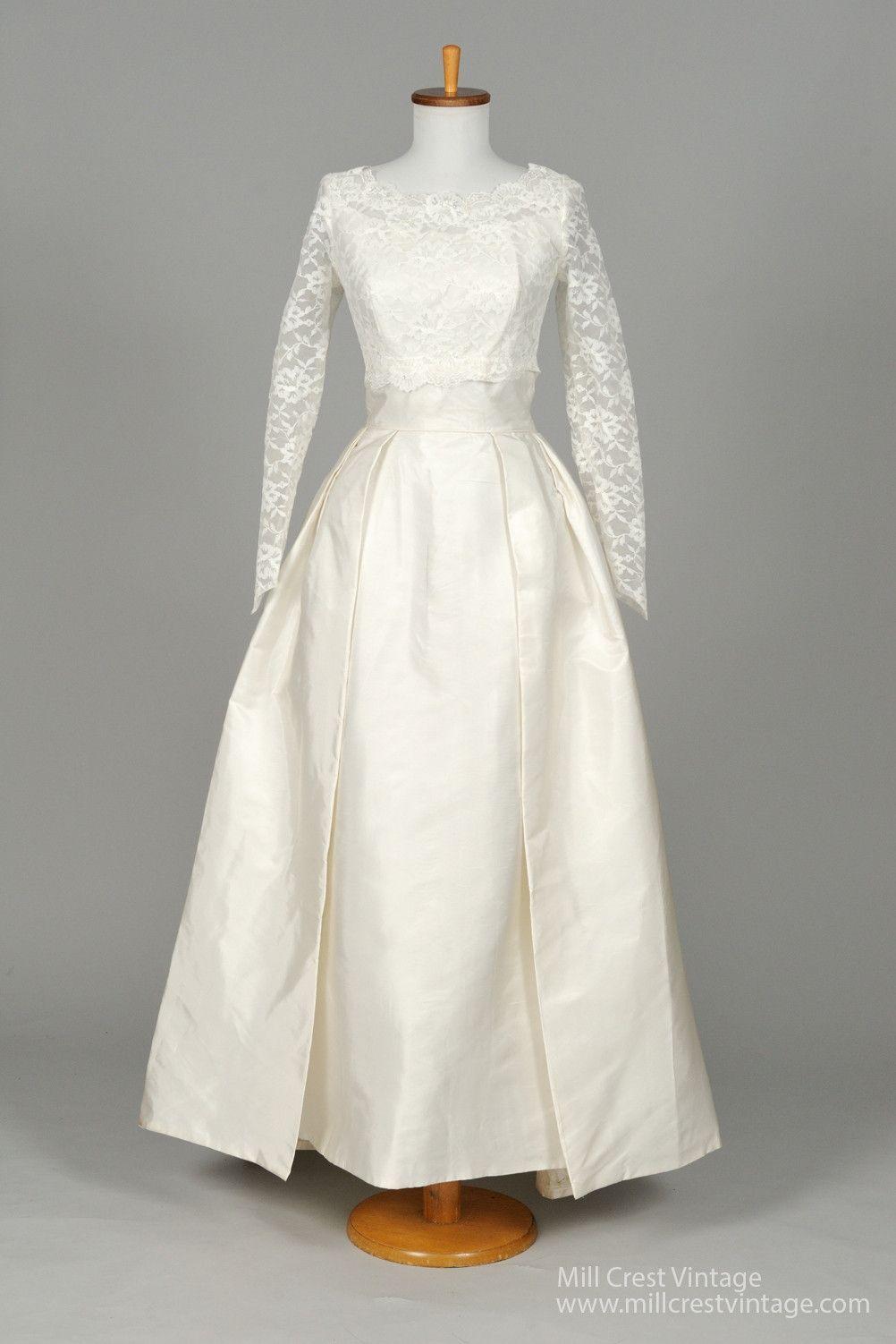 1960 wedding dresses   Taffeta and Lace Vintage Wedding Gown  angle  Pinterest