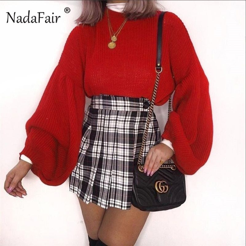 Nadafair long lantern sleeve loose knitted sweater women 2018 autumn winter casual jumper korean sweater knitting pullovers tops – Ali Explorer 1