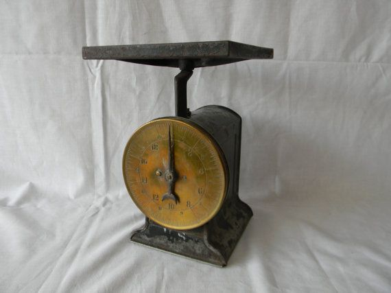 Antique Kitchen Scale Black Brass Face Home Decor Weigh It Face
