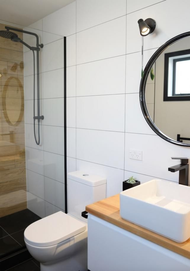 Ensuite Bathroom Nz ensuite, wooden tile, black tapware, bathroom deavoll construction