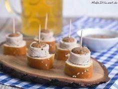 Photo of Weißwurst appetizers for Oktoberfest recipe MakeItSweet.de: pretzel white sausage