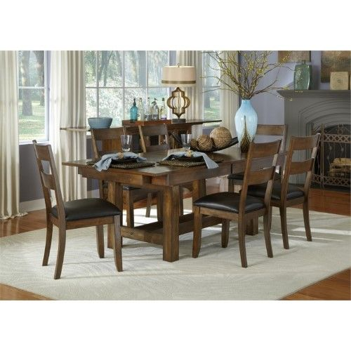 A America Mariposa 7 Piece Extendable Dining Set In Rustic